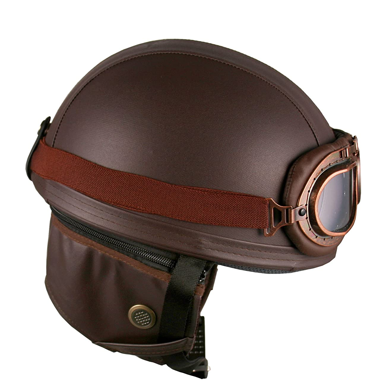 Leather Goggles German Vintage Style Half 1/2 Helmet Motorcycle Biker Cruiser Scooter Touring Helmet (Brown) 2