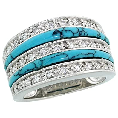 "Revoni Sterling Silver Flat Cubic Zirconia Band, w/ 2 Row Synthetic Turquoise inlay, 1/2"" (13mm) wide"
