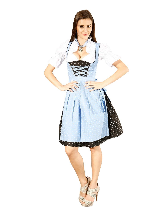 3tlg. Dirndl Set Streublumen Schwarz Hellblau mit Bluse und Schürze jetzt kaufen