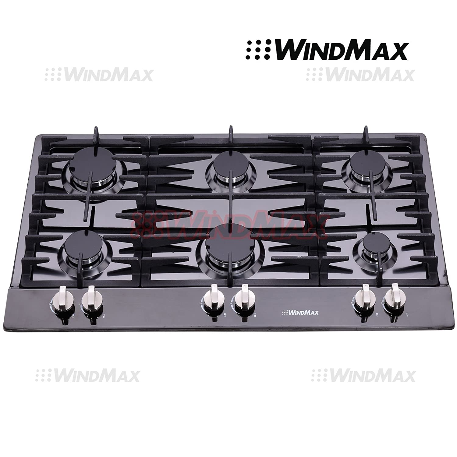 "WindMax® 34"" Black Titanium Stainless Steel 6 Burner Built-In Stoves Gas Cooktop Cooker"