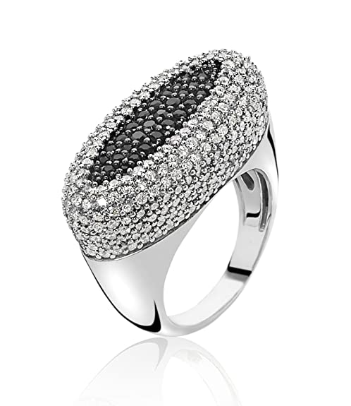 Orphelia Women's Ring 925 Silver Rhodium Plated with Brilliant Cut Cubic Zirconia White Size 54 (17.2) - 3891/54