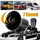 GrmeisLemc 7 Sounds Loud Horn Police Fire Car Warning Alarm 150dB Siren PA Speaker System (Color: Multi)