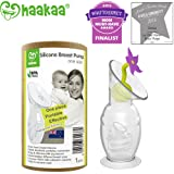 Haakaa Breast Pump with Suction Base and Flower Stopper 100% Food Grade Silicone BPA PVC and Phthalate Free (4oz/100ml) (Purple)