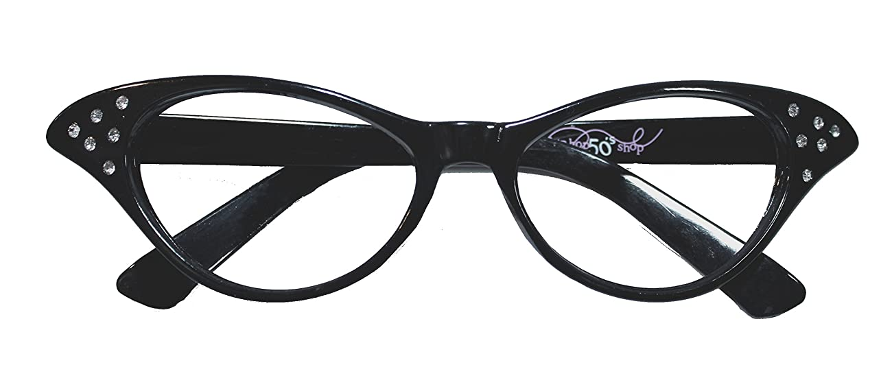 Hip Hop 50s Shop Womens Cat Eye Rhinestone Glasses 1
