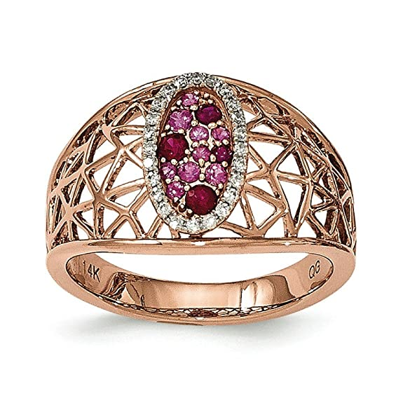 14ct Rose Gold Diamond Ruby and Sapphire Oval Ring