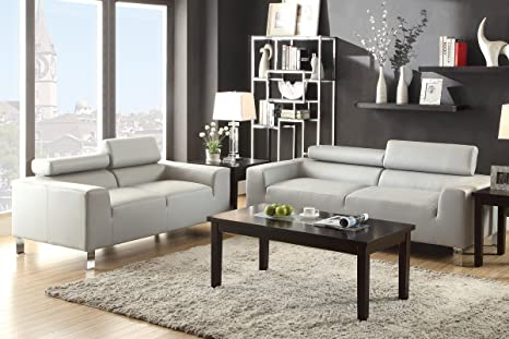 Poundex F7265 Light Grey Modern Leather Sofa And Loveseat With Adjustable Headrest