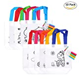 PER DIY Graffiti Tote Bag Non-Woven Grocery Bags For Children Arts & Crafts Colour Filling Party Favor-10PACK (Color: 10PACK)