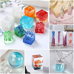 Heflashor 126PCS Resin Molds DIY Silicone Molds for Resin Silicone Casting Molds for DIY Jewelry Craft Making Epoxy Resin Mold Cube Sphere with Jellyfish Model (Color: Set 1-126pcs)