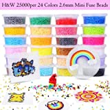 H&W 25000 pcs, 24 Colors 2.6mm Mini Fuse Beads Kits, Including Peg Board, Tweezer, Ironing Paper (WA2-Z2) (Color: 24 Colors, Tamaño: 2.6mm Mini Beads)