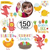 150 Packs Easter Tattoos Temporary Bunny Chicken Tattoos for Easter Egg Hunt, Easter Party Favors for Kids (Color: Easter)