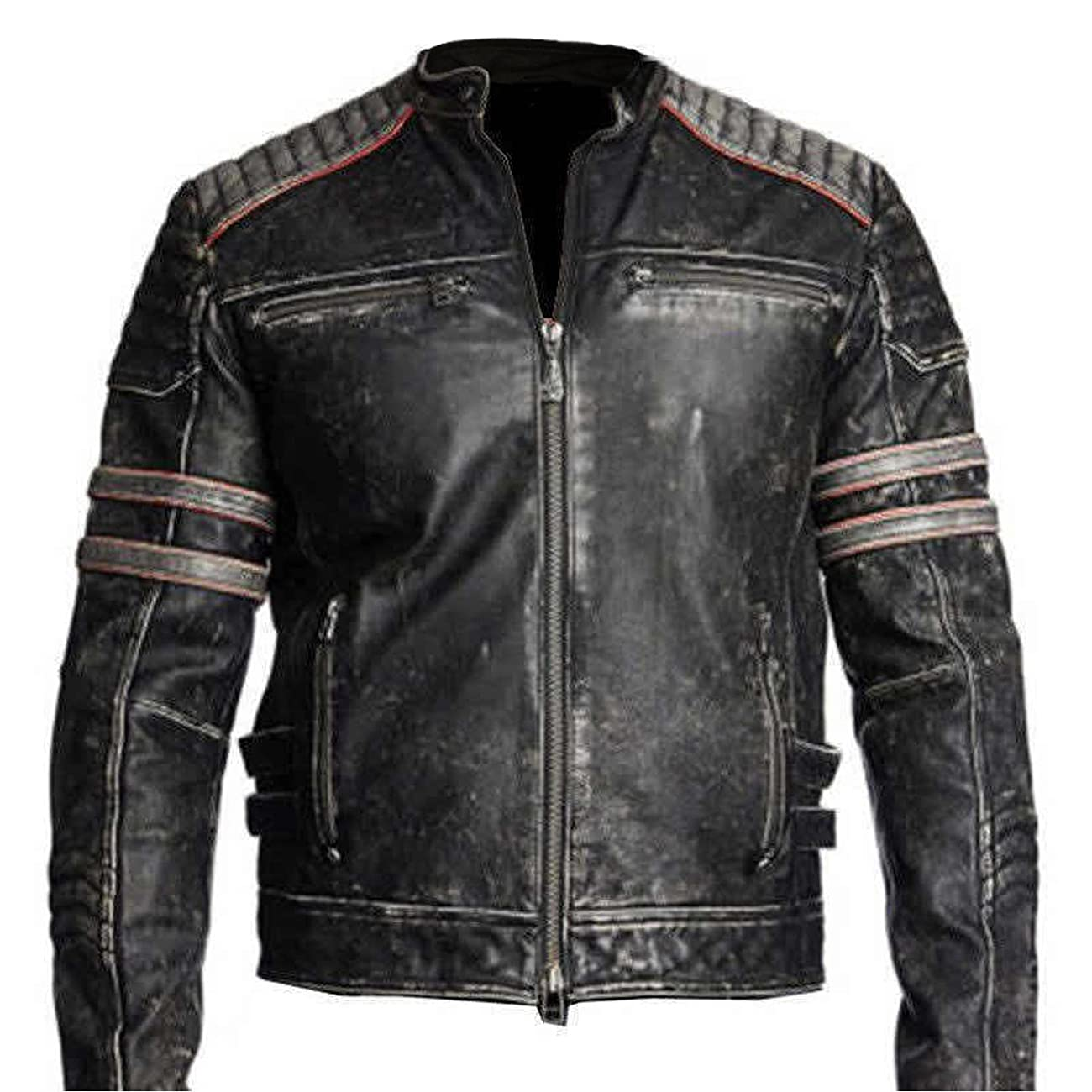 Men's Biker Vintage Motorcycle Distressed Black Retro Leather Jacket 0