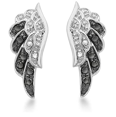 Carissima Gold 9ct White Gold 0.22ct Black and White Diamond Angel Wings Stud Earrings