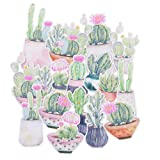 16 Pieces Cactus Waterproof Stickers for Laptop, Water Bottles, Fridge, Daily Planner, Junk Bullet Journal, Scrapbook (Color: pink, green, brown, Tamaño: small)