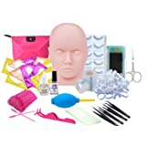 Eyelash Extension kit, Missicee Professional Eyelashes Kit False Eyelashes Extension Glue Tool Practice Kit for Makeup Practice Eye Lashes Graft with Mannequin Training Head