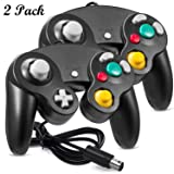 2 Pack iNNEXT Gamecube Controller, GC NGC Classic Wired Controller Compatible with Nintendo Gamecube Wii Wii U Video Game Console, 1.8m/5.9ft (Black) (Color: Black)