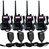 Retevis RT-5R Walkie Talkies 5W 128CH UHF/VHF 400-520MHz/136-174MHz Two Way Radio(4 Pack) with Speaker Mic(4 Pack)