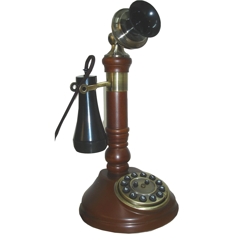 Steepletone Nostalgia Desktop SNWO5D Teléfono fijo estilo antiguo color madera oscura candlestick candelabro años 20