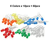 Chanzon 60 pcs(6 colors x 10 pcs) 3mm LED Diode Lights Assored Kit Pack (Diffused Round DC 3V 20mA ) Lighting Bulb Lamps Electronics Components 3 mm Light Emitting Diodes Parts