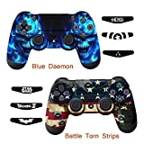 Skins for PS4 Controller - Decals for Playstation 4 Games - Stickers Cover for PS4 Slim Sony Play Station Four Controllers Pro PS4 Accessories PS4 Remote Wireless Dualshock 4 - Flag Daemon 6 Light Bar (Color: Battle Torn Strip & Blue Daemon)