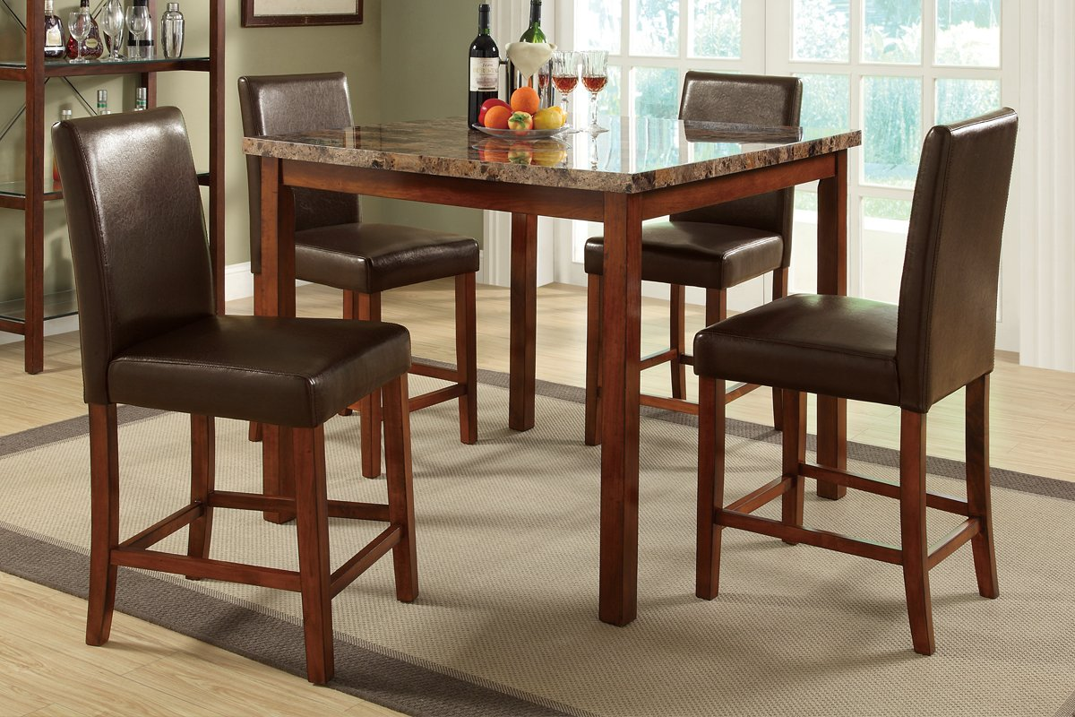 Marble top kitchen table dining set leather upholstered for Leather chairs for kitchen table