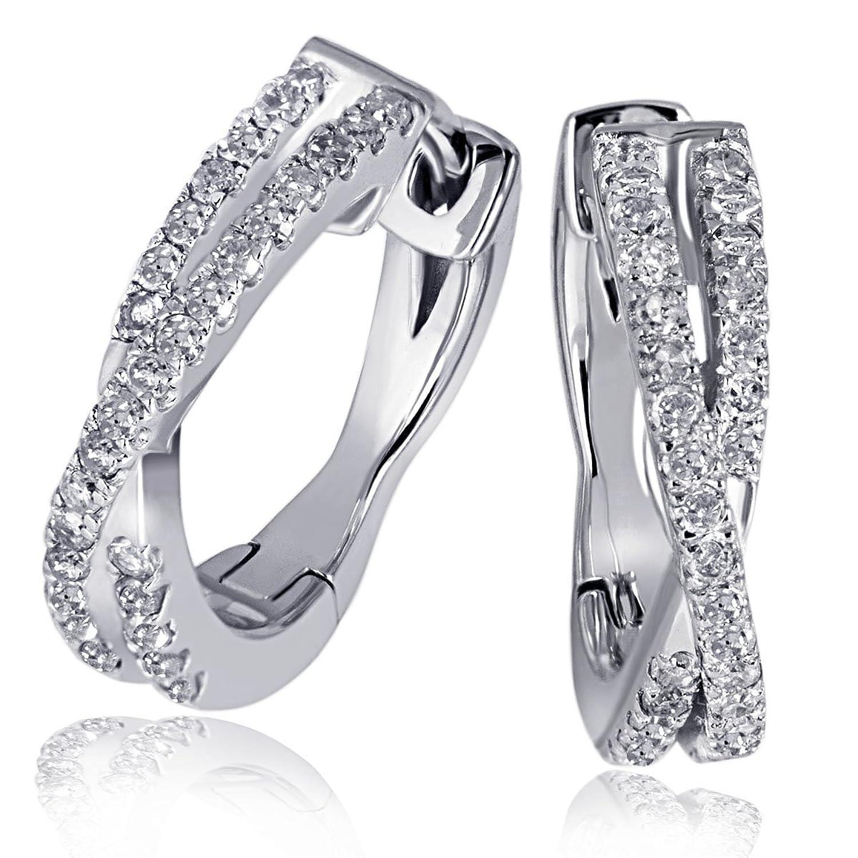 Goldmaid Damen-Creolen Linien 585 Weißgold 60 Diamanten 0,24ct 13 mm Pa O5572WG schenken