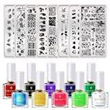 BORN PRETTY Halloween Christmas Nail Art Stamping Tool Kit 8Pcs Image Stamp Plate with 10 Bottles 6ml Classic Stamping Polish DIY Nail Art Design (Color: Set 2)