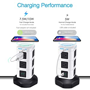 Power Strip Tower GLCON Surge Protector Tower Fast Wireless Charger + 4 USB 5V/5A Ports + 3000W 13A 10 Outlet Plugs + Charging Tower with 6ft Long Extension Cord for Home Office (Color: Black White, Tamaño: 10 Outlets + 4 USB)