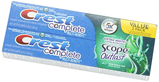 Crest Complete Extra White Plus Scope Outlast Fresh Breath Whitening Toothpaste - Long Lasting Mint Twin Pack 11.6 Ounce
