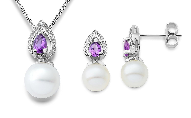 Miore Damen-Set: Halskette + Ohrringe Süßwasser-Zuchtperlen Tropfen Amethyst und Diamant 9 Karat 375 Weißgold MSET020 als Weihnachtsgeschenk kaufen