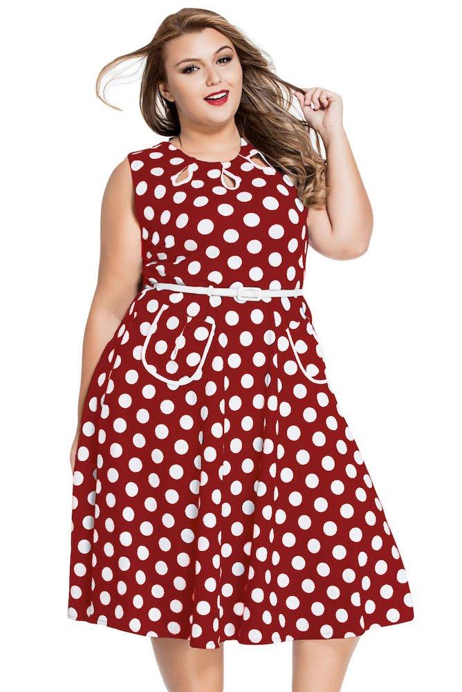 Roswear Women's Vintage 1950s Polka Dot A Line Belted Skater Dress 5
