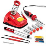 Hi-Spec All-In-One 30W Soldering Station inc. Soldering Iron, Helping Hands & 9pc Accessory Set - Desoldering Pump, Tin Alloy Solder, De-Solder Alloy & 2pc Solder Assist Tools (Color: C.Soldering Station & Iron Kit)