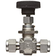 Parker NP6 Series Stainless Steel 316 Needle Valve, Inline, Hand Wheel, PCTFE Tipped Stem, A-Lok Compression Fitting