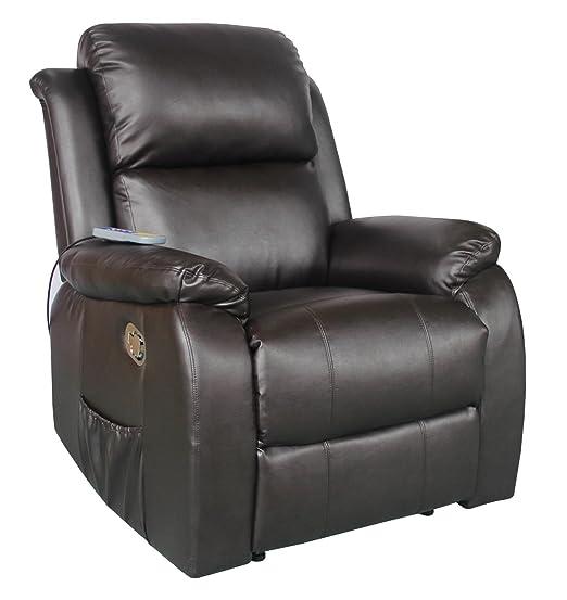 Relaxsessel von MACO Fernsehsessel mit Vibrationsmassage und Ruckenheizung Kunstleder braun