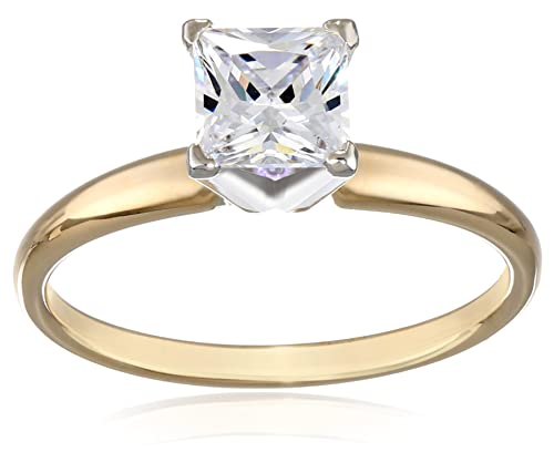 14k+Gold+Princess-Cut+Solitaire+Ring%2C+Made+with+Swarovski+Zirconia+%281+cttw%29