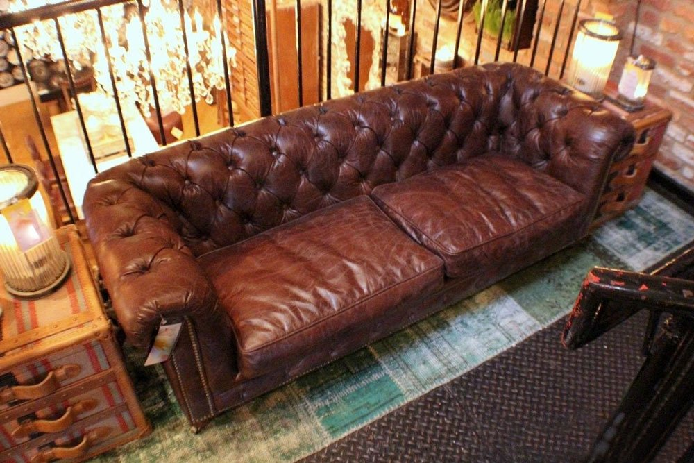 tufted small Sofa Top grain vintage brown leather beautiful 1
