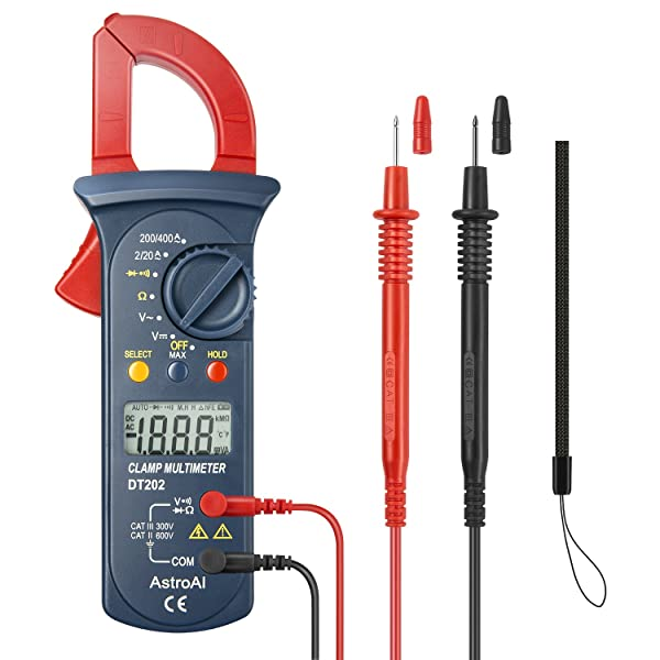 AstroAI Digital Clamp Meter, Multimeter Volt Meter with Auto Ranging; Measures AC/DC Voltage, AC Current, Resistance, Continuity, Diode, Red/Black (Color: Red/Black, Tamaño: Small)