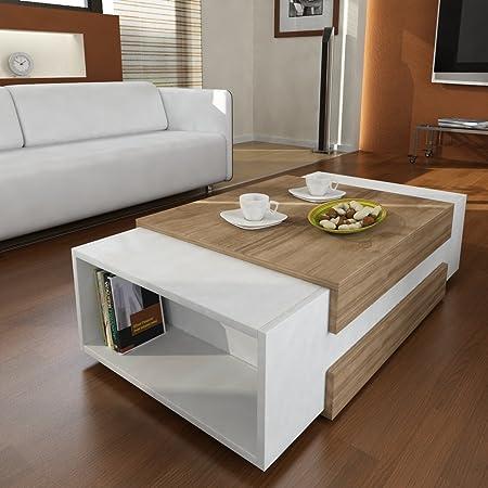 Couchtisch Beistelltisch Wohnzimmer NORA in Weiß-Walnussbraun