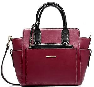 Mary Point Emily Bordo Black Pleather Handbag