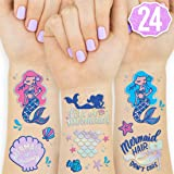 xo, Fetti Mermaid Party Supplies Temporary Tattoos for Kids - 24 Glitter Styles | Mermaid Birthday Party Favors, Mermaid Tail Decorations + Halloween Costume (Color: Pink, Purple, Blue, Green, Iridescent)
