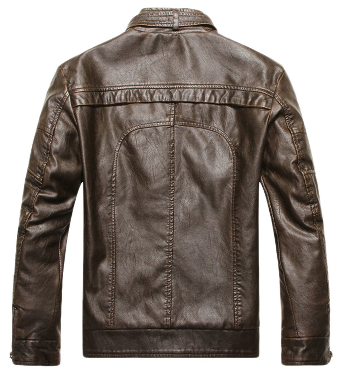 Chouyatou Men's Vintage Stand Collar Pu Leather Jacket 1