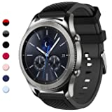 Gear S3 Bands, 22mm Silicone Sport Wristbands Watch Strap Quick Release Replacement Bracelet with Metal Clasp for Samsung Gear S3 Frontier/S3 Classic Smart Watch (Color: 1 A-cross pattern black gray, Tamaño: 22mm)