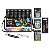 Chameleon Deluxe Bundle 52-Pen Set with Case, Extra Blender, Extra Detail Pen, Tweezers, Replacement Mixing Nibs 10/Pkg, Replacement Bullet Nibs 10/Pkg, Replacement Brush Nibs 10/Pkg