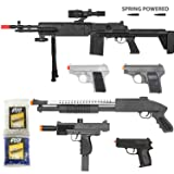 BBTac Airsoft Gun Package - Desert Sniper - Collection of Airsoft Guns - Powerful Spring Sniper Rifle, Shotgun, SMG, Mini Pistols and BB Pellets, Great for Starter Pack Game Play (Color: black)