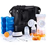 MADENAL Double Electric Breast Pump Travel Set with On The Go Cooler Bag, Ice Pack, Breastmilk Storage Bags, Super Quiet, Comfortable and Effective (Color: Breast Pumps)