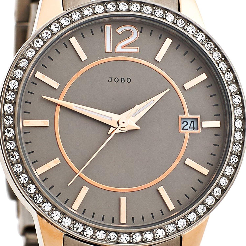 Damen-Armbanduhr Quarz Analog Titan rosé Kristall-Elements
