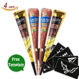 GSN Temporary Tattoo India Henna Cones Tattoo Paste Tatouage Temporary Paste Body Art Painting with Free Henna Stencil Set (Black_Brown)