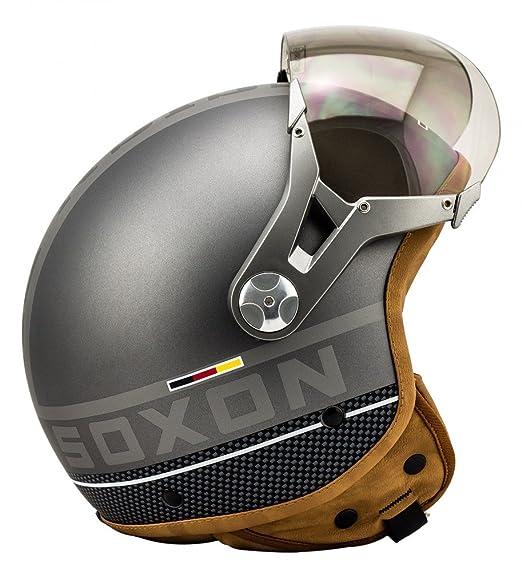 SOXON SP-325 TITANIUM gris casque JET moto Cruiser Pilot - Taille: XS S M L XL
