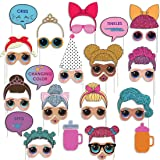 Assembled Photo Booth Props for Surprise Dolls Party Supplies Birthday Themed Party, Perfect Decoration and Gift for LOL Party (35 Pieces) (Color: Red)