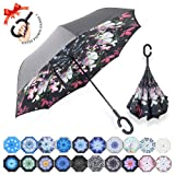 ZOMAKE Double Layer Inverted Umbrella Cars Reverse Umbrella, UV Protection Windproof Large Straight Umbrella for Car Rain Outdoor With C-Shaped Handle(Beauty Flower) (Color: Beauty Flower)