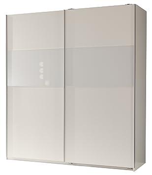 Wimex 127771 Schwebeturenschrank 198 x 180 x 64 cm, Front und Korpus alpinweiß, Absetzungen Glas weiß